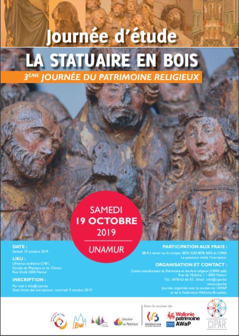 Affiche promotionnelle journée Statuaire en bois