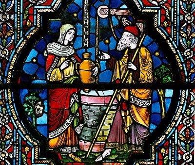 Vitrail représentant Rebecca et Eliezer
