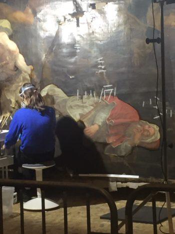 Sauvetage de la toile de Sainte-Catherine en Neuvice : l'œuvre se dévoile