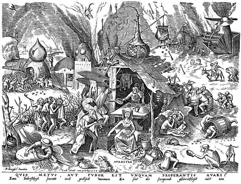Pieter Bruegel l'Ancien_L'Avarice_série des Vices