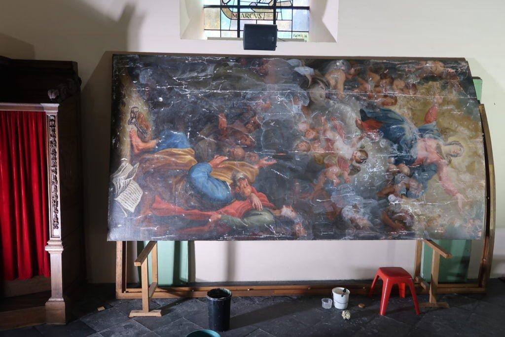 deux_tableaux_de_Maximilien_De_Haese_Ottignies_pendant_restauration