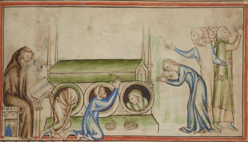 Des pèlerins en prière autour et en-dessous de la châsse du roi Edouard. Miniature d'un manuscrit du XIIIe siècle